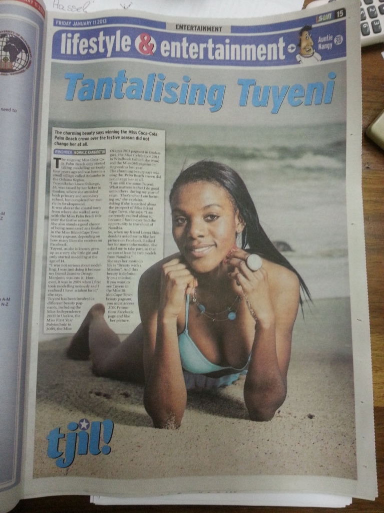 "A photo I took of Tuyeni Shikongo, printed in the ""Nambian Sun"""
